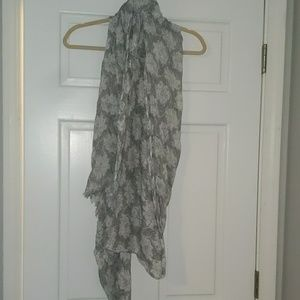 Gray white and black floral scarf